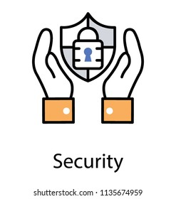 Hand holding lock embedded shield, flat icon design of security concept