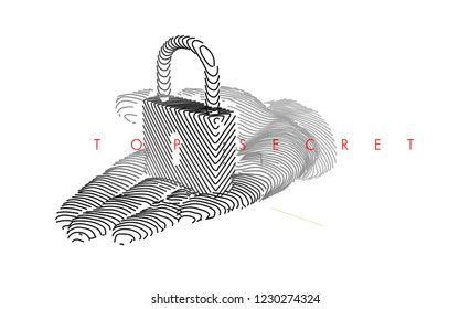 Hand holding lock. Vector drawn by color lines. Creative line-ar. Vector template brochures, flyers, presentations, logo, print, leaflet, banners, icon