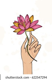 Hand holding lotus flower. Colorful hand drawn illustration. yoga, meditation, awakening symbol.