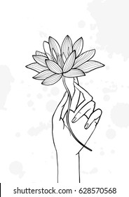 Hand holding lotus flower. Contour hand drawn illustration. yoga, meditation, awakening symbol.