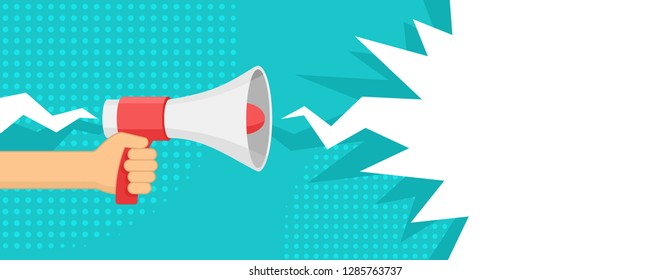 Hand holding loudspeaker (megaphone) with dialog speech bubble in star burst form on bright background - vector illustration, banner or poster template
