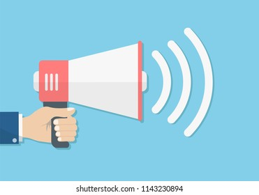hand holding loudspeaker megaphone sound promotion, announcement concept, stock vector illustration