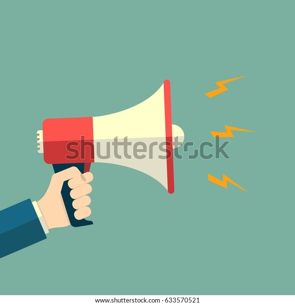 hand holding loudspeaker megaphone sound promotion stock vector royalty free 633570521 https www shutterstock com image vector hand holding loudspeaker megaphone sound promotion 633570521