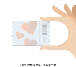 Hand holding love hearts symbols ticket. Concept - Wedding, engagement invitation, Valentine day sales and discount coupons, Love at first sight, Family relationships seminars and counseling etc.