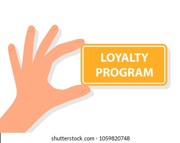Hand holding loyalty program card. Vector image isolated on white background