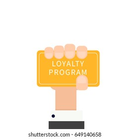 Hand holding loyalty program card. Vector illustration isolated on white background