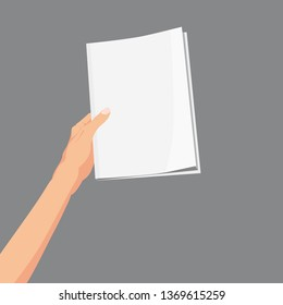 Hand holding a magazine, brochure, book. Template, vector, illustration. isolated, cartoon style
