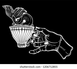 Hand holding a magic tea or coffee cup a whale or mermaid tale diving into the water. Sea and ocean. Fish in the cup. Surreal creative artwork. Vintage stylized drawing. Vector isolated illustration.