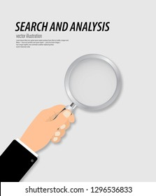 Hand holding a magnifying glass. Concept of search and analysis information detecting and analyzing