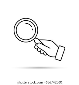 Hand holding magnifying glass outline icon isolated on white background. Vector flat illustration. Search concept.