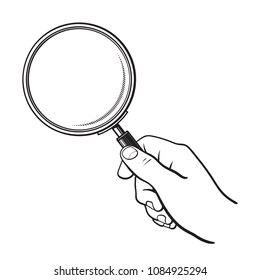 Hand holding magnifying glass. Search and analysis concept. Black and white sketch. Hand drawn vector illustration isolated on white background.
