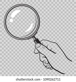 Hand holding magnifying glass. Search and analysis concept. Black and white sketch. Hand drawn vector illustration isolated on transparent background.