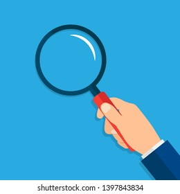Hand holding magnifying glass. Search and analysis. Vector illustration in flat style on a blue background