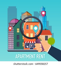 Hand holding a magnifying glass for search apartment. Offer of purchase house, rental of Real Estate. Flat design modern vector illustration concept.