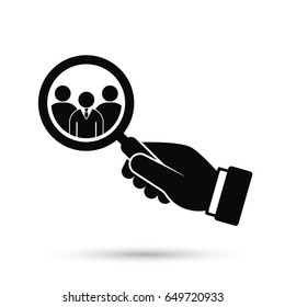 Hand holding magnifying glass for search a man employee or candidate icon. Vector black illustration.