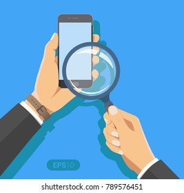 Hand holding a magnifying glass. With Smartphone device. Concept of searching, detecting and analyzing. New vector illustration in flat design on blue background.