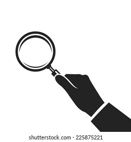 hand holding magnifying glass. vector flat black and white icon