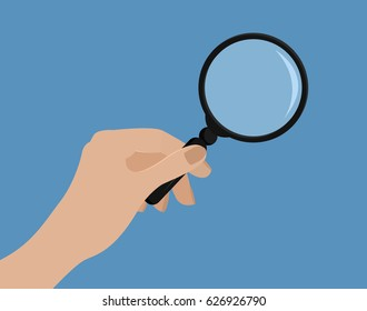 Hand holding magnifying glass.Vector illustration. Flat style.Woman hand. Mock up with transparent glass. Isolated on blue. Searching, detecting, exploration, zoom, scrutiny, audit, inspection concept