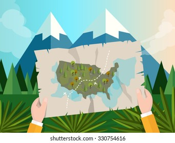 hand holding map america tracking hunting in forest mountain tree vector graphic illustration cartoon jungle mountain
