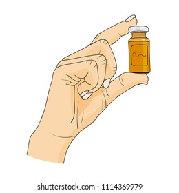 Hand holding a medical brown glass bottle. Pharmacy, healthcare concept. Vector illustration.