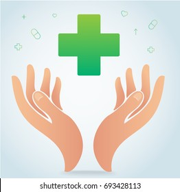 hand holding medical hospital icon symbol vector, healthcare concept