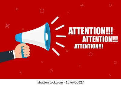 Hand holding megaphone - Attention. Vector flat