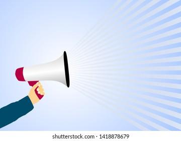 hand holding megaphone or bullhorn against light blue background vector illustration