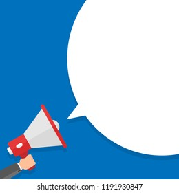 Hand holding megaphone with empty attention. Flat design business Vector Illustration concept Empty template copy space isolated Posters coupons promotional material Megaphone