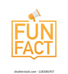 Hand holding megaphone - Fun fact. Vector stock illustration.