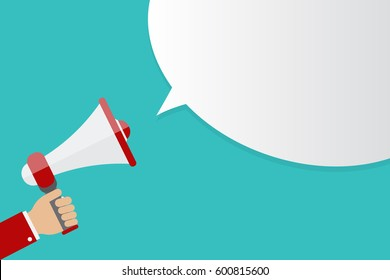 Hand holding Megaphone icon isolated on blue background with speech bubble, vector illustration