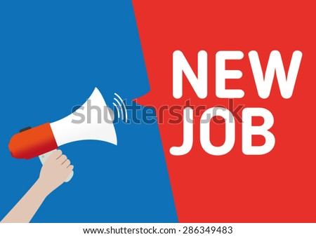 Hand Holding Megaphone New Job Announcement Stock Vector Royalty