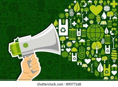 Hand holding a megaphone promote eco friendly icons over green background. Vector file available.