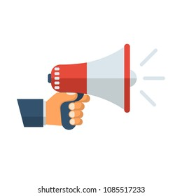 Hand holding megaphone. Speaker, loudspeaker. Advertising and promotion symbol. Bullhorn cartoon. Social media marketing concept. Vector illustration flat design. Isolated on white background.