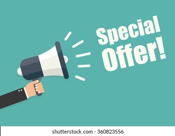 Hand holding megaphone - Special offer