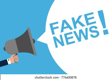 Hand Holding Megaphone With Speech Bubble FAKE NEWS! . Announcement. Vector illustration
