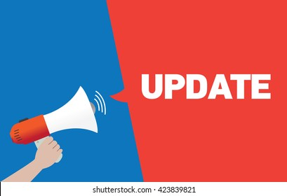 Hand Holding Megaphone with UPDATE Announcement