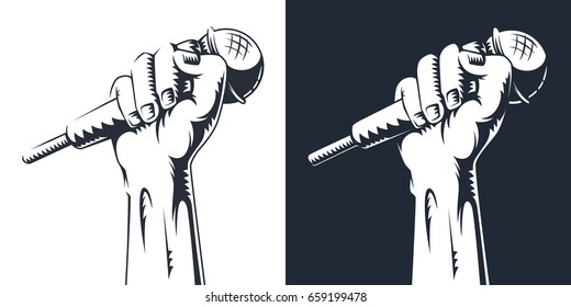 Hand holding a microphone in a fist. vector illustration