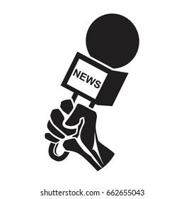Hand holding microphone icon,  Live news. Flat design , question concept,  interview or news concept symbol or logo