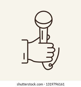 Hand holding microphone line icon. Journalist, news maker, mic, equipment. Mass media concept. Can be used for topics like interview, speech, reporter