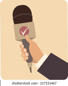 Hand Holding a microphone symbol Journalism man takes someone interviewed in a flat style