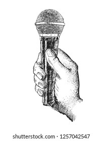 Hand holding a microphone. Vector engraving illustration. Vintage stylized drawing. Retro woodcut style. Hand draw doodles