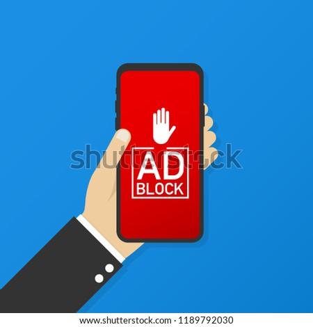Hand Holding Mobile Ad Blocker Screen Stock Vector (Royalty