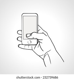 Hand Holding Mobile, arm with cell, line art drawing hand with mobile phone. Vector illustration