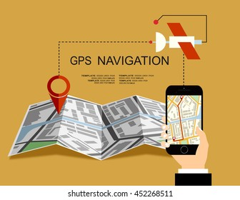 Hand holding Mobile with Gps Navigation map on screen. Flat style design of web banner template for website or infographics, mobile navigation GPS system.