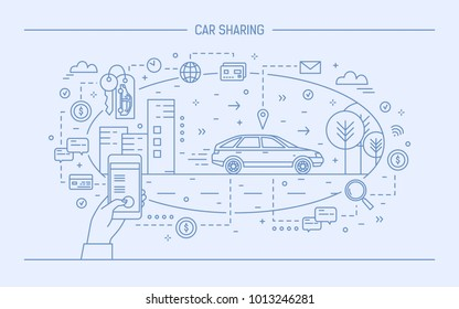 Hand holding mobile phone and automobile on city street. Concept of car sharing and electronic rental service or carsharing application. Monochrome vector illustration drawn with blue contour lines.