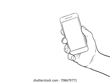 Hand holding mobile phone. Comics style.Pop art vector illustration.