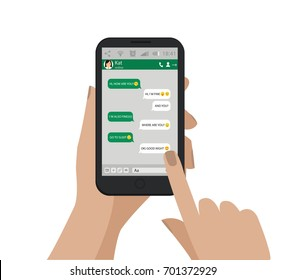 Hand holding mobile phone. Emoji. Green Chat speech bubbles. Vector illustration.