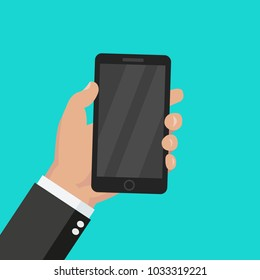 Hand holding mobile phone - flat style vector