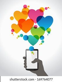 Hand holding mobile phone with icons heart. Concept of communication in the network. Design for Valentine's Day. The file is saved in the version AI10 EPS. This image contains transparency.