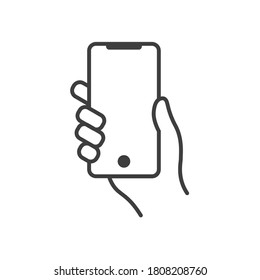 Hand holding mobile phone with modern touch screen vector line icon